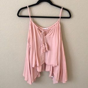 Free People Light Pink Flowy Cold Shoulder Top (M)